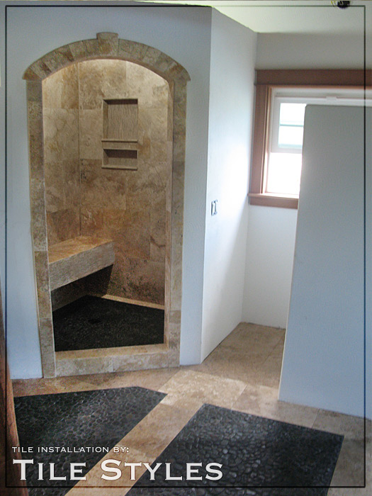 mosaic pebble shower floor and entry floor