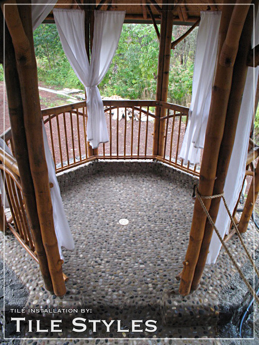 mosaic pebble outdoor shower floor